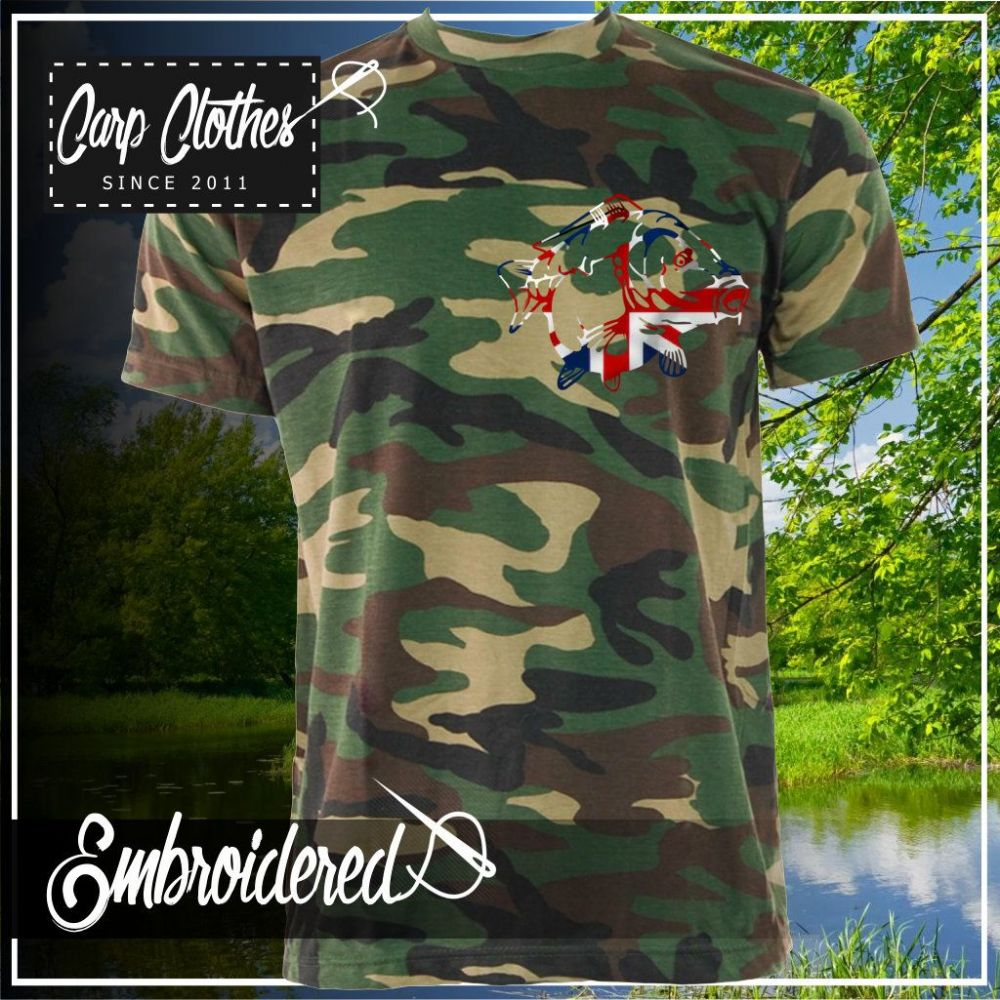034 EMBROIDERED CAMO T SHIRT